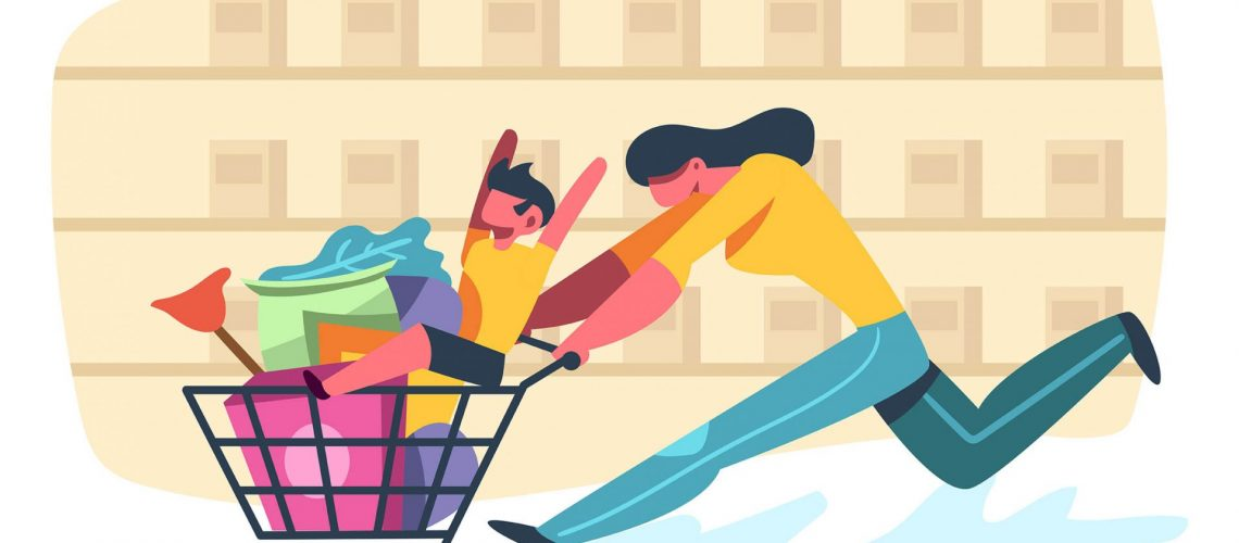 Grocery shopping vector 2